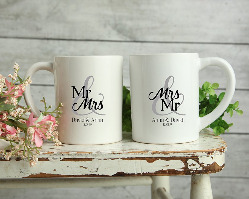 Custom Personalised Matching Wedding Mugs